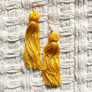 Yellow Knotted Tassel Drop Earrings